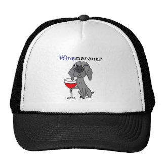 Funny Weimaraner Dog Drinking Red Wine Cap