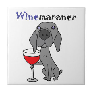 Funny Weimaraner Dog Drinking Red Wine Small Square Tile