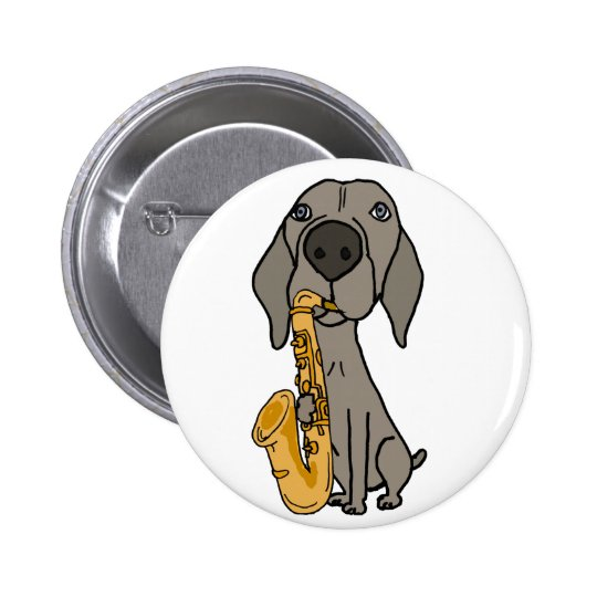 Funny Weimaraner Dog Playing Saxophone 6 Cm Round Badge