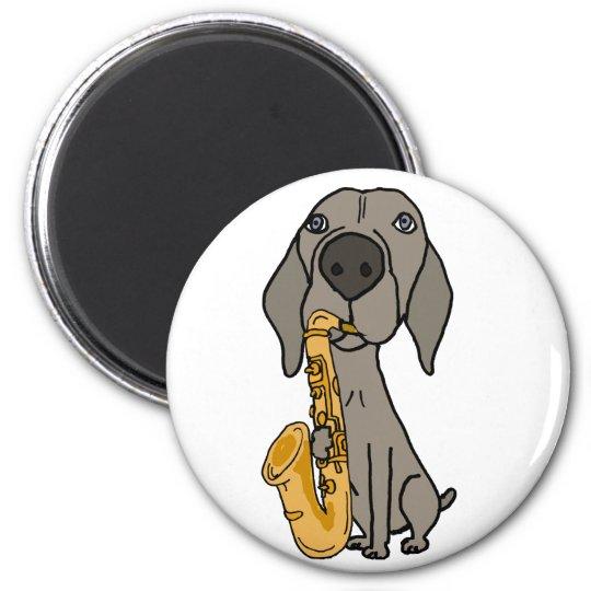 Funny Weimaraner Dog Playing Saxophone 6 Cm Round Magnet
