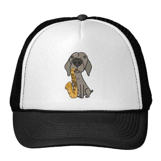 Funny Weimaraner Dog Playing Saxophone Cap