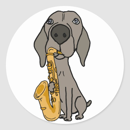 Funny Weimaraner Dog Playing Saxophone Classic Round Sticker