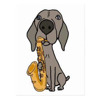 Funny Weimaraner Dog Playing Saxophone Postcard