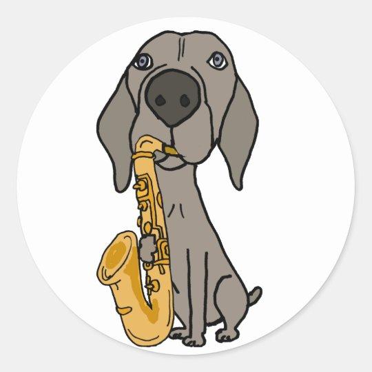 Funny Weimaraner Dog Playing Saxophone Round Sticker