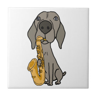 Funny Weimaraner Dog Playing Saxophone Small Square Tile
