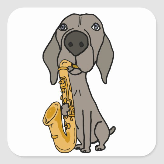 Funny Weimaraner Dog Playing Saxophone Square Sticker