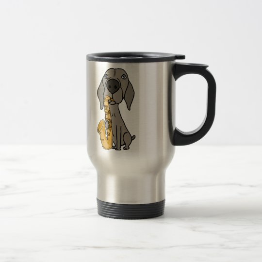 Funny Weimaraner Dog Playing Saxophone Travel Mug