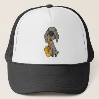 Funny Weimaraner Dog Playing Saxophone Trucker Hat