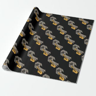 Funny Weimaraner Dog Playing Saxophone Wrapping Paper