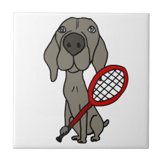Funny Weimaraner Dog Playing Tennis Small Square Tile