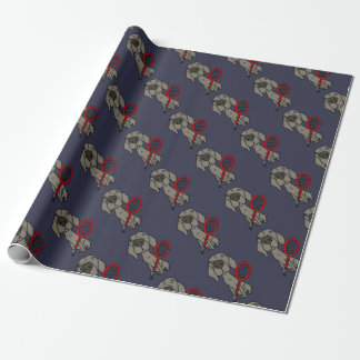 Funny Weimaraner Dog Playing Tennis Wrapping Paper