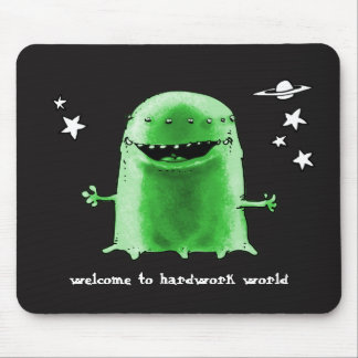 funny weird alien cartoon style illustration mouse pad