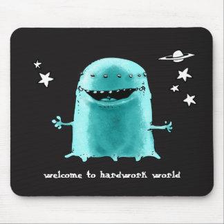 funny weird alien cartoon style illustration mouse pad