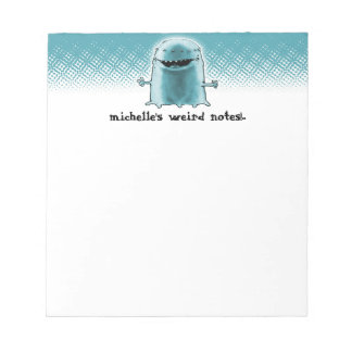 funny weird alien cartoon style illustration notepad