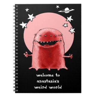 funny weird alien cartoon style illustration spiral notebook