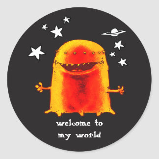 funny weird alien with stars on space cartoon classic round sticker