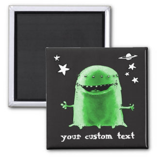 funny weird alien with stars on space cartoon square magnet