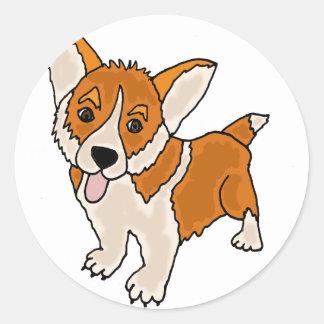 Funny Welsh Corgi Puppy Dog Round Sticker
