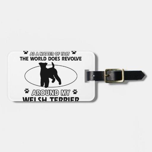 Funny welsh terrier designs travel bag tag