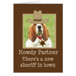 "Funny Western Birthday Card w/""Basset Sheriff"""