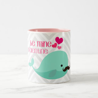Funny Whale with Mustache Be Mine Valentine Custom Two-Tone Mug