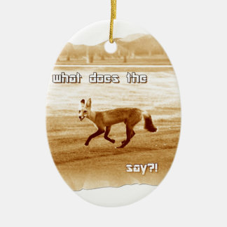 funny what does the fox say Double-Sided oval ceramic christmas ornament
