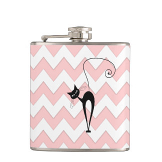 Funny whimsical black cat chevron pale pink flasks