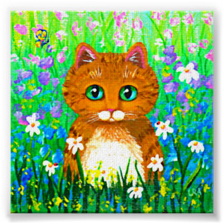 Funny Whimsical Cat Orange Tabby Creationarts Poster