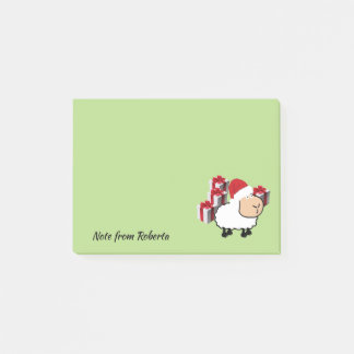Funny whimsical cute Christmas sheep Post-it Notes