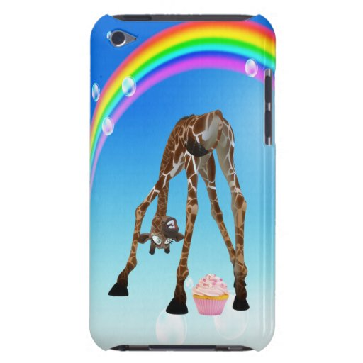 Funny Whimsical Giraffe, Cupcake & Rainbow Barely There iPod Cover