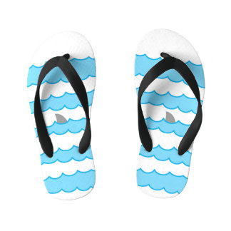 Funny Whimsical Shark Fin on Water Illustration Thongs