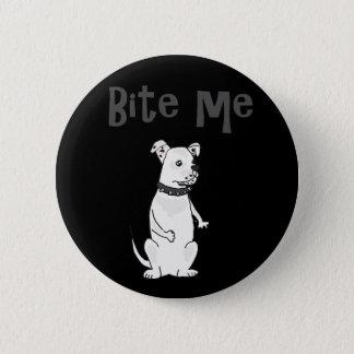 Funny White American Bulldog Bite me Cartoon 6 Cm Round Badge