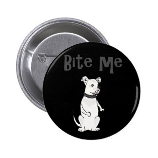 Funny White American Bulldog Bite me Cartoon 6 Cm Round Badge