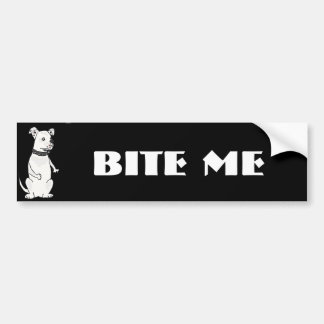 Funny White American Bulldog Bite me Cartoon Bumper Sticker
