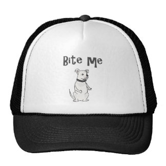 Funny White American Bulldog Bite me Cartoon Cap