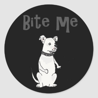 Funny White American Bulldog Bite me Cartoon Classic Round Sticker