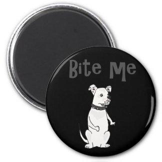 Funny White American Bulldog Bite me Cartoon Magnet
