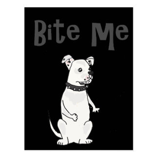 Funny White American Bulldog Bite me Cartoon Postcard