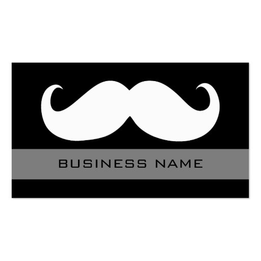 Funny White Mustache and Plain Black Business Card Template