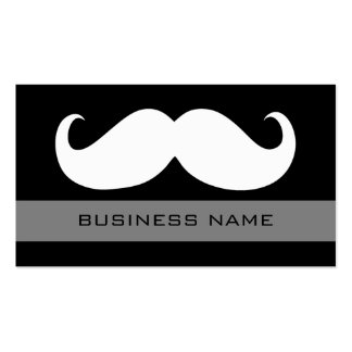 Funny White Mustache and Plain Black Pack Of Standard Business Cards