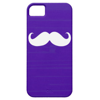 Funny White Mustache on Dark Purple Background iPhone 5 Cover