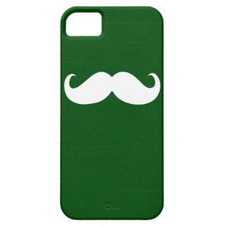 Funny White Mustache on Green Background iPhone 5 Cases