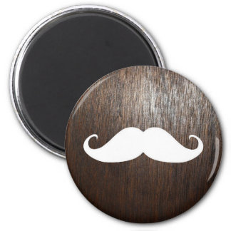Funny White Mustache on oak wood background 6 Cm Round Magnet