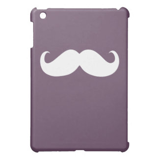 Funny White Mustache on Purple iPad Mini Cover