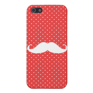 Funny White Mustache On Red Polka Dots iPhone 5/5S Cover