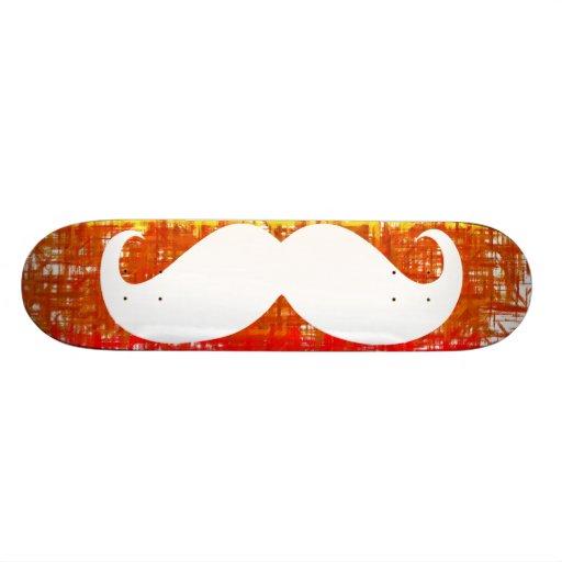 Funny white mustache skate board decks