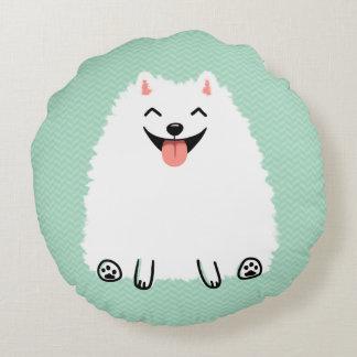 Funny White Pomeranian Round Cushion