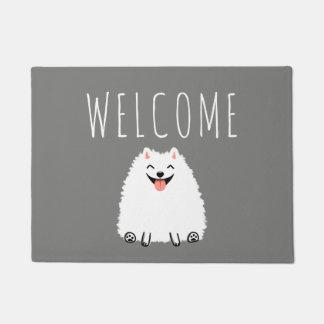 Funny White Pomeranian with Custom Text Doormat