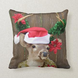 Funny Whitetail Buck Deer Christmas Cushion