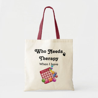 Funny Who Needs Therapy Bingo Lovers Player Tote